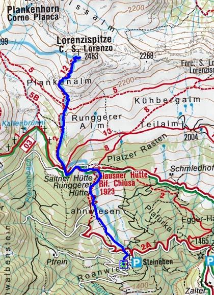Lorenzispitze (2481 m) von Steineben