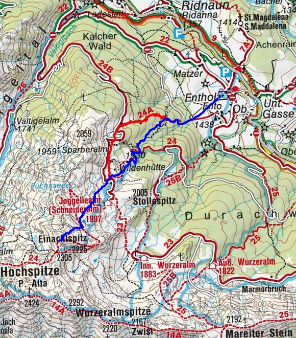 Einachtspitze (2305 m) von Entholz