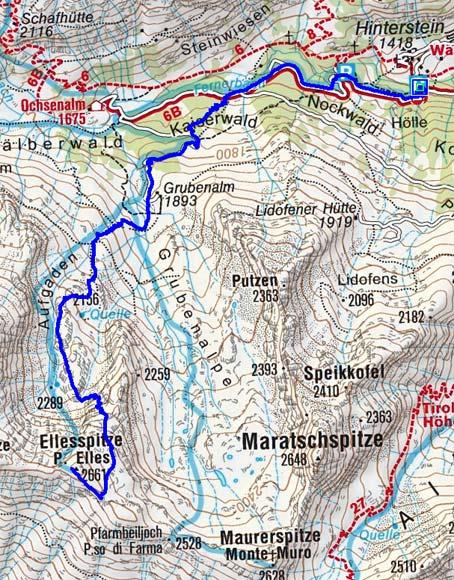 Ellesspitze  (2661 m) vom Weiler Stein