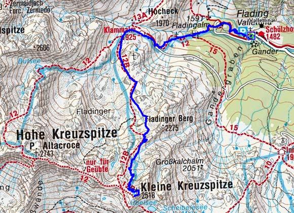 Kleine Kreuzspitze (2518 m) vom Weiler Flading