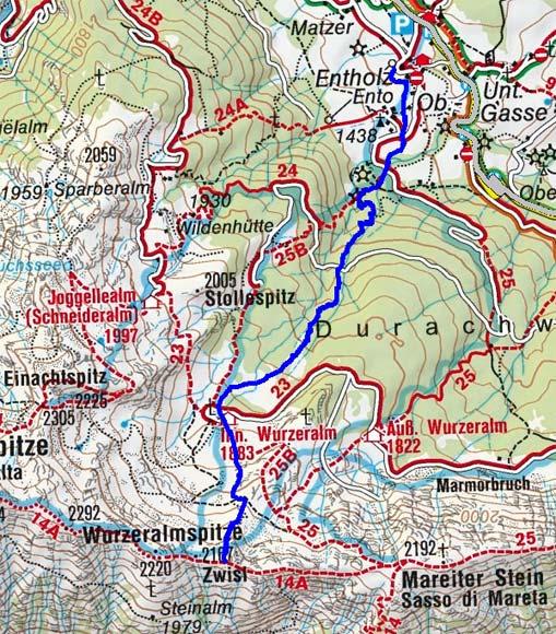 Wurzer Alpenspitze (2167 m) von Entholz