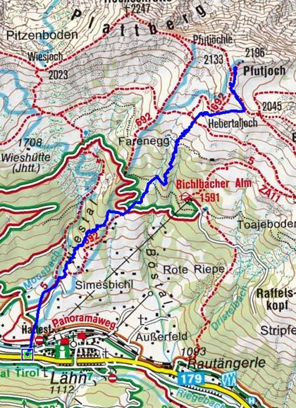 Pfuitjoch-Pfuitjöchle (2196 m) von Lähn