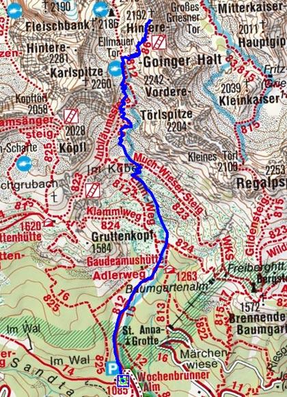 Hintere Goinger Halt-Elmauer Tor (2006/2192 m) von der Wochenbrunneralm