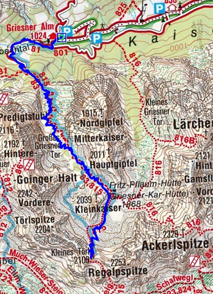 Kleines Törl (2096 m) von der Griesneralm