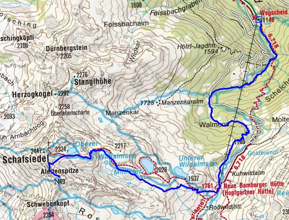 Aleitenspitze (2447 m) über Bamberger Hütte und Wildalmseen