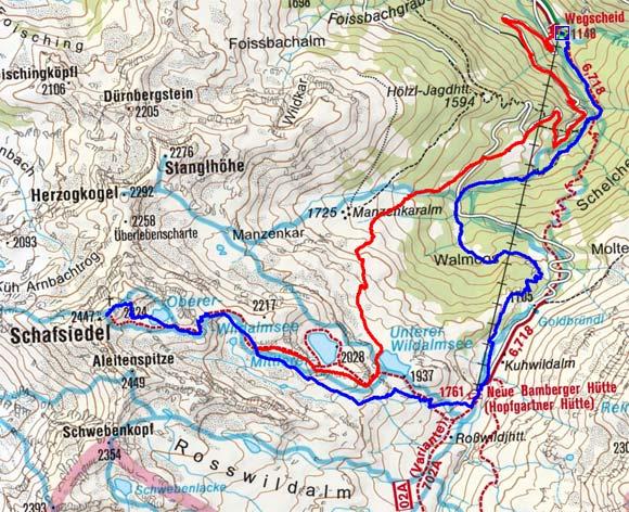 Schafsiedel (2447 m) über die Bamberger Hütte