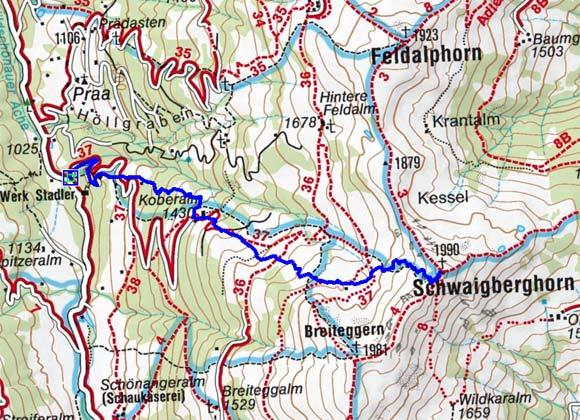 Schwaigberghorn (1990 m) von Auffach