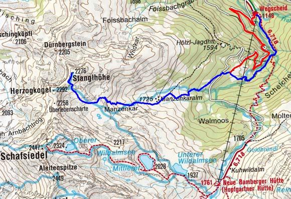 Stanglhöhe (2276 m) vom Gasthaus Wegscheid
