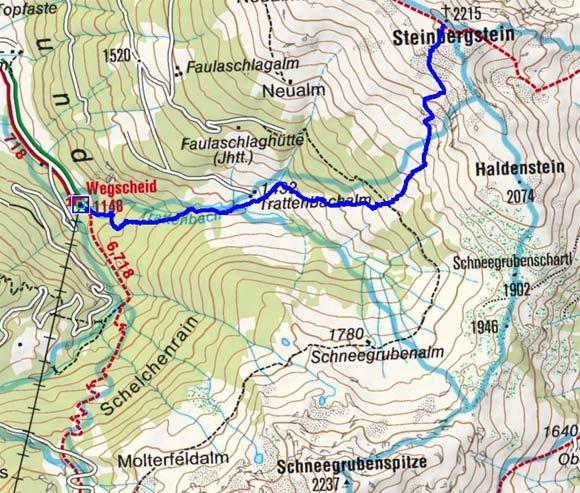 Steinbergstein (2215 m) vom Gasthaus Wegscheid