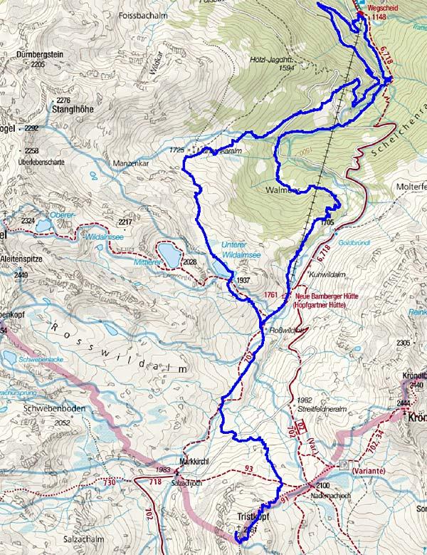 Tristkopf (2361 m) aus dem Kurzen Grund in der Kelchsau