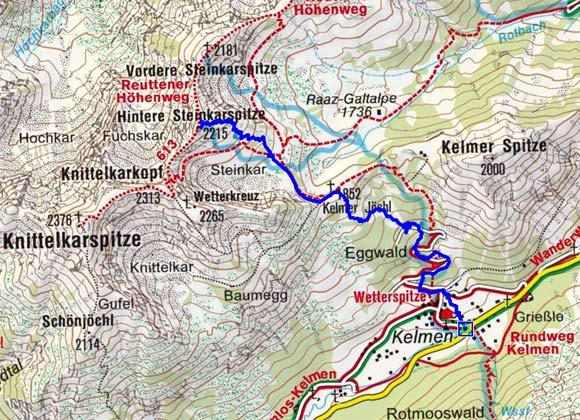 Hintere Steinkarspitze (2215 m) von Kelmen