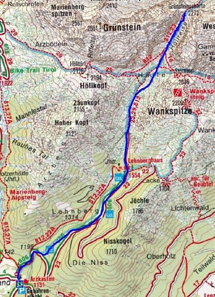 Grünsteinscharte (2272 m) vom Gasthof Arzkasten