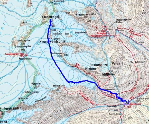 Fluchtkogel (3500 m) vom Hochjochhospiz
