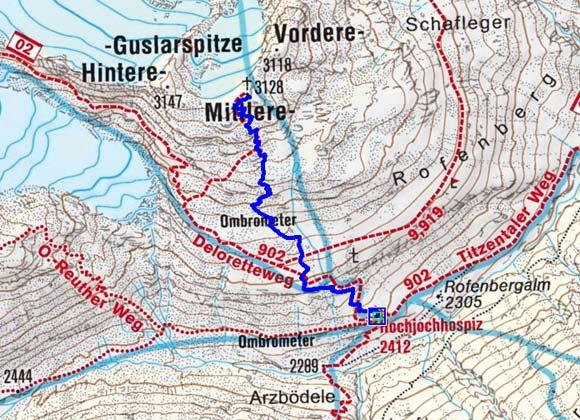 Mittlere Guslarspitze (3128 m) vom Hochjoch Hospiz
