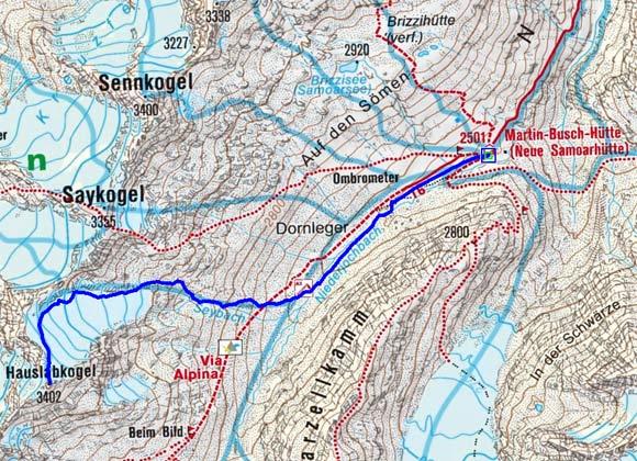 """Hauslabkogel (3402 m) von der Martin Busch """"Samoarhütte"""""""