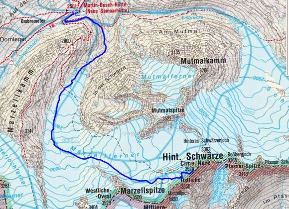 Hintere Schwärze (3624 m) von der Martin Busch Hütte
