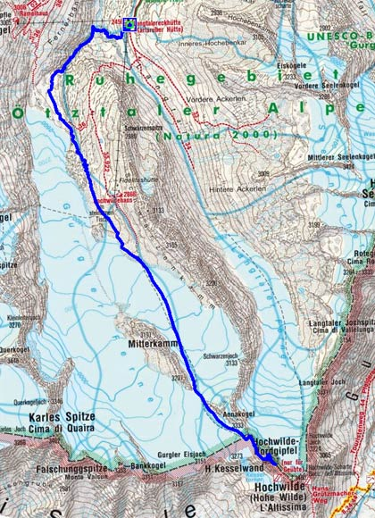Hohe Wilde (3458 m) über den Gurgler Ferner
