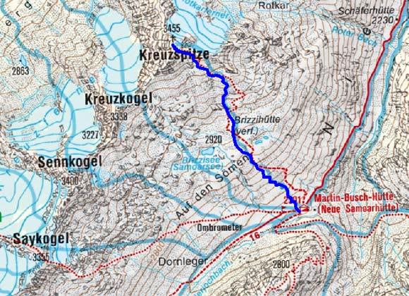 Kreuzspitze (3457 m) von der Martin Busch Hütte
