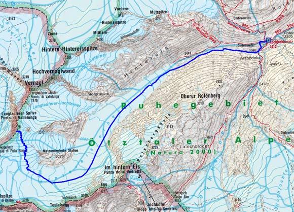 Langtauferer Spitze (3528 m) vom Hochjochhospiz
