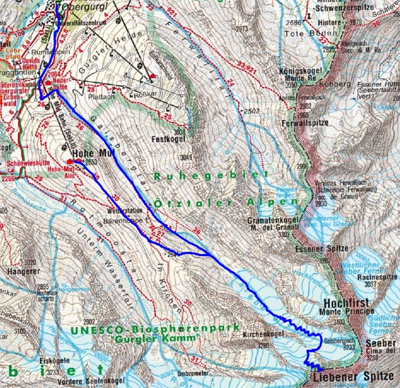 Liebener Spitze, 3399m - Skitour von der Hohe Mut Bergstation