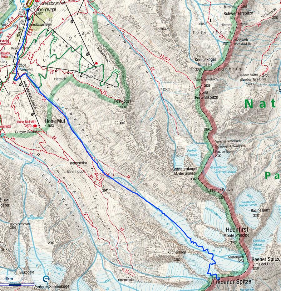 Liebener Spitze, 3399m - Skitour von Obergurgl