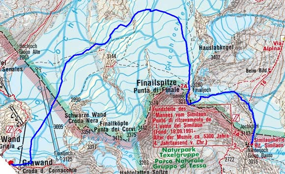 Similaunhütte (3019 m) von Kurzras/Grawand