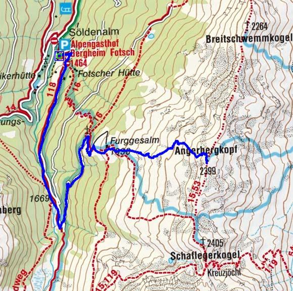 Angerbergkopf (2399 m) vom Alpengasthof Bergheim Fotsch