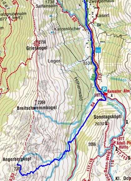 Angerbergkopf (2399 m) von Grinzens