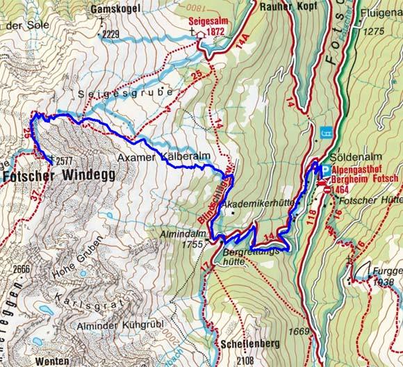 Fotscher Windegg (2577 m) vom Alpengasthof Bergheim Fotsch