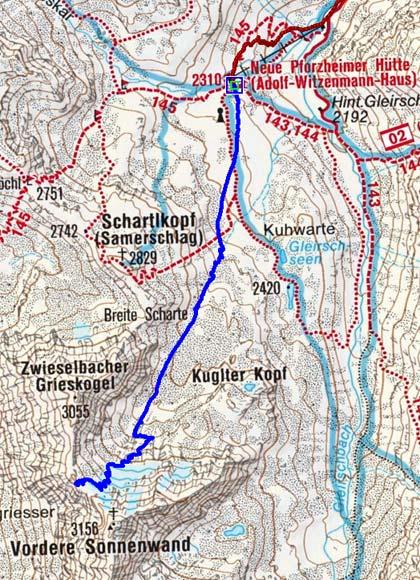 Zwieselbacher Grieskogelscharte (3004 m) von der Pforzheimerhütte
