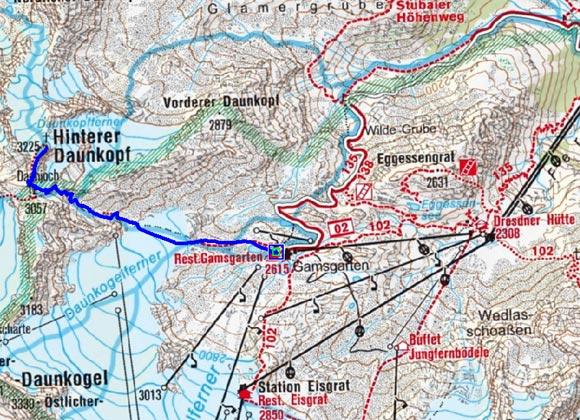 Hinterer Daunkopf (3225 m) vom Gamsgarten