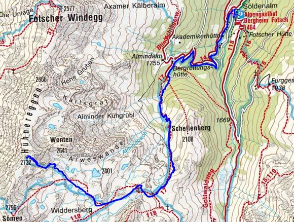 Hühnereggen (2732 m) vom Alpengasthof Bergheim Fotsch