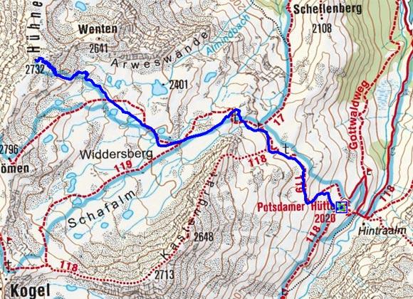 Hühnereggen (2732 m) von der Potsdamer Hütte