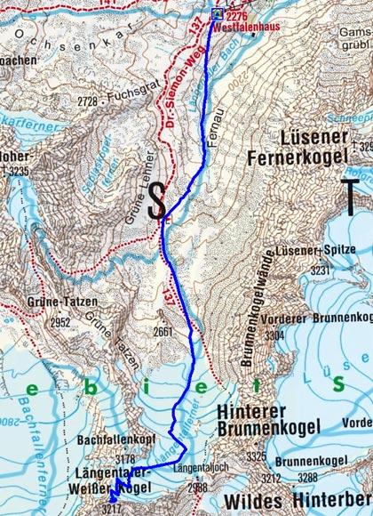 Längentaler Weißer Kogel (3217 m) vom Westfalenhaus