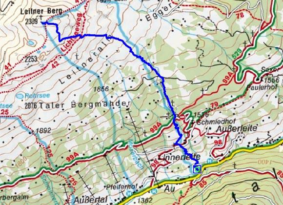 Leitner Berg (2309 m) vom Kreuzingerhof
