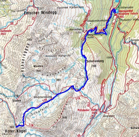 Roter Kogel (2832 m) vom Alpengasthof Fotscher Bergheim