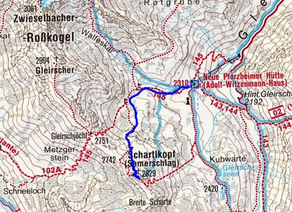 Samerschlag (2829 m) von der Pforzheimer Hütte