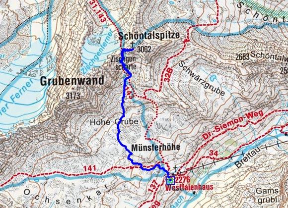Schöntalspitze (3002m) vom Westfalenhaus
