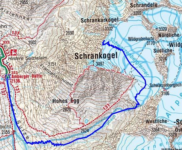Schrankarkopf (3308 m) von der Amberger Hütte