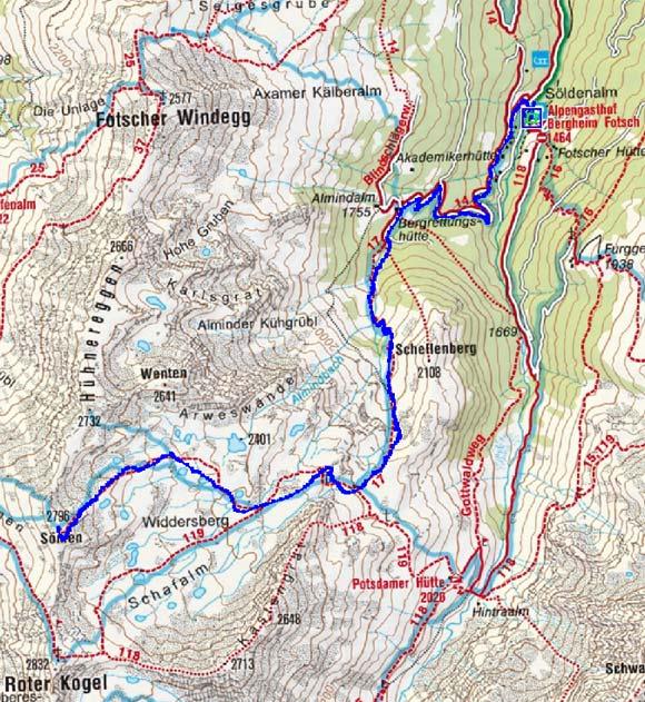 Sömen (2796 m) vom Alpengasthof Fotscher Bergheim