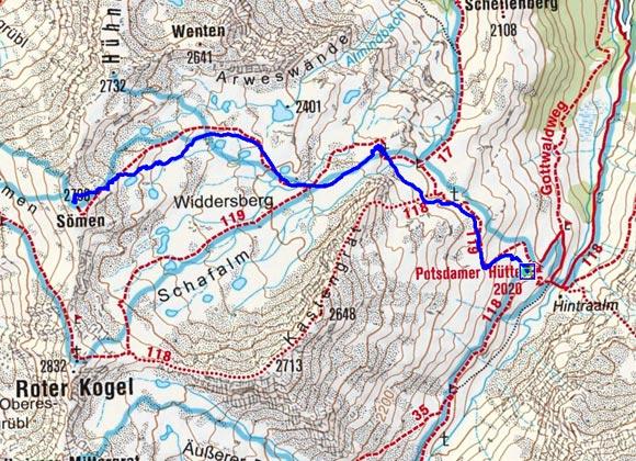 Sömen (2796 m) von der Potsdamer Hütte
