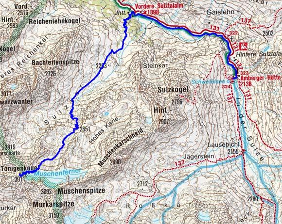 Tonigenkogel (3011 m) von der Amberger Hütte