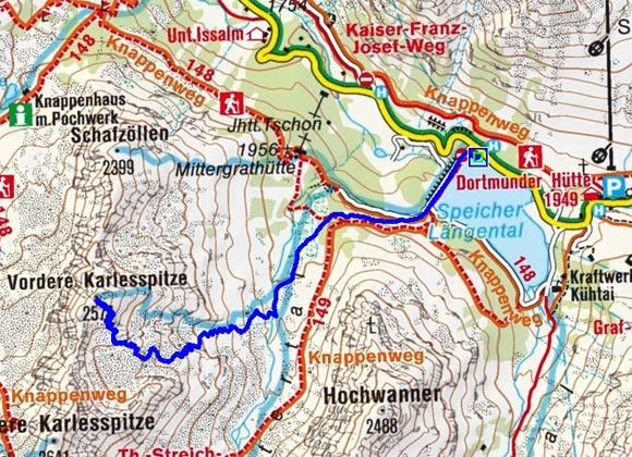 Vordere Karlesspitze (2574 m) vom Speicher Längental