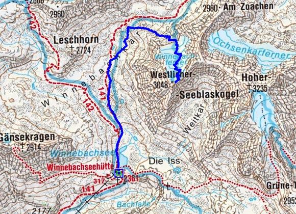 Westlicher Seeblaskogel (3048 m) von der Winnebachseehütte