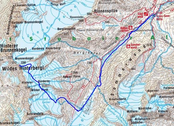 Wildes Hinterbergl (3288 m) von der Franz Senn Hütte