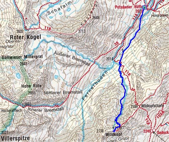 Wildkopf (2719 m) von der Potsdamer Hütte