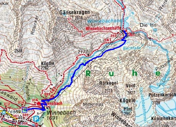 Winnebachseehütte (2362 m) von Gries