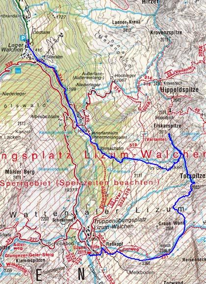 2 Gipfel und 3 Jöcher Rundtour (Torspitze, Eiskarspitze)