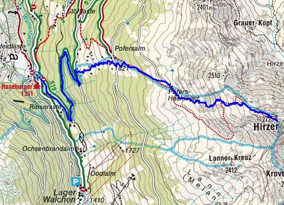 Hirzer (2725 m) vom Gasthof Hanneburger