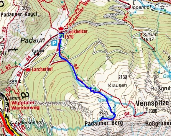 Padauner Berg (2230 m) von Padaun
